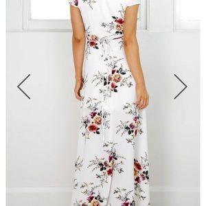 Dresses - White floral wrap maxi dress